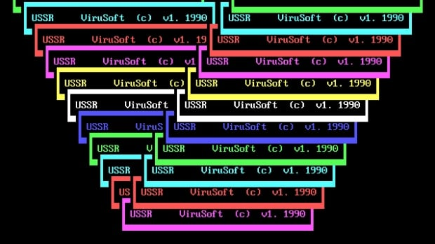 An example of an MS-DOS-based virus from the 90s, on display at the Malware Museum.