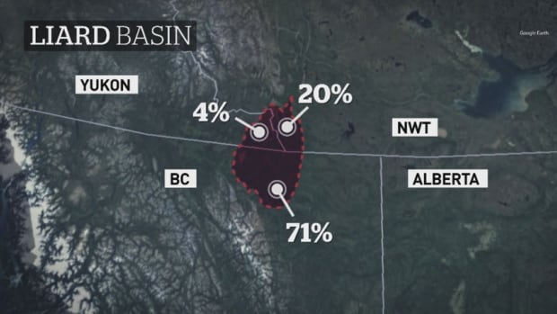 A map showing the location of the Liard gas basin that straddles the B.C., N.W.T. and Yukon borders. A recent assessment says it's the second-largest known gas resource in Canada.