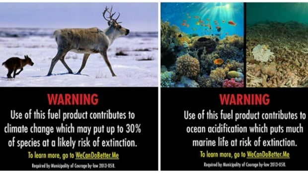 Two of the proposed labels put forward by environmental group Our Horizon. Port Moody council voted to move ahead with stickers like these on gas pumps.