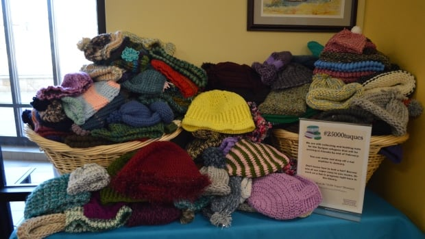 About a hundred people in the Austin, Texas area knit and crocheted wool hats for Syrian refugees arriving in Newfoundland and Labrador.