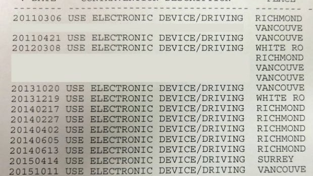 Vancouver police want a Richmond woman who's been busted for distracted driving 14 times off the road.