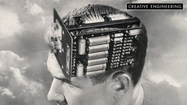 Creative engineering, vintage illustration of the head of a man with an electronic circuit board for a brain, 1949. Screen print.