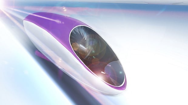 Aluminum pods would ride on a cushion of air and transport people at high speeds between cities.