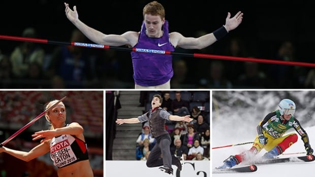 Clockwise from top, Shawn Barber, Marie-Michele Gagnon, Nicolas Nadeau and Brianne Theisen-Eaton will all be in action this weekend and a part of the coverage on this weekend's Road to the Olympic Games.