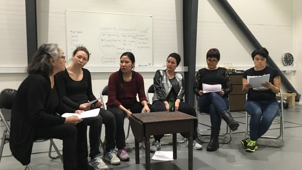 Cast members in rehearsal for The Rez Sisters at the National Theatre in Nuuk, Greenland. The play marks the largest production ever staged in the Arctic capital.