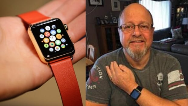 Dennis Anselmo, a watch fanatic, shows off his life-saving Apple watch.