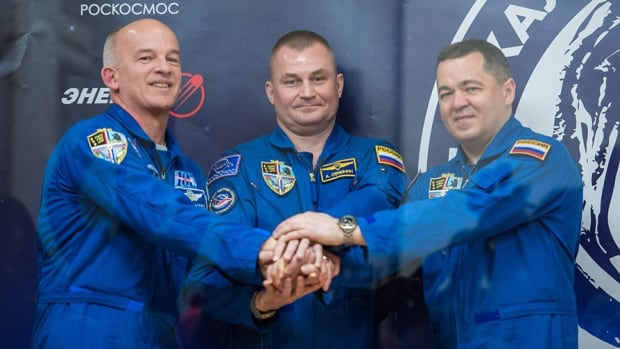 U.S. astronaut Jeff Williams and Russian cosmonauts Alexey Ovchinin and Oleg Skripochka arrived at the International Space Station at 11:09 p.m. ET on Friday, NASA said.