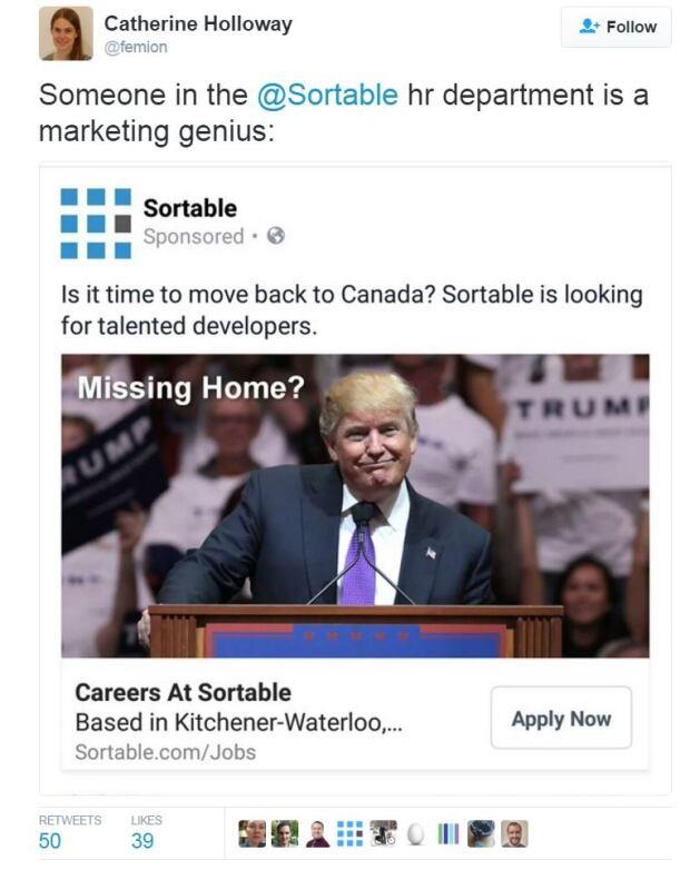 Sortable donald trump missing home