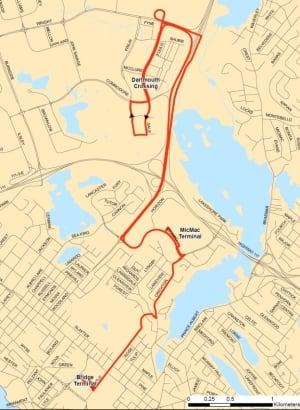 Halifax Transit route 56 map