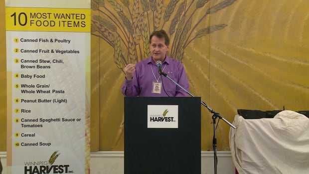 Winnipeg Harvest's executive director David Northcott hosted an event Friday to push for support for a basic income plan in Manitoba.