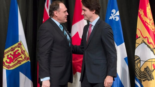Yukon Premier Darrell Pasloski with Prime Minister Justin Trudeau at the First Ministers meeting in Ottawa, in November.