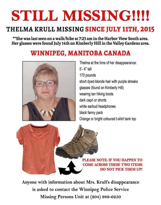Thelma Krull, missing person poster