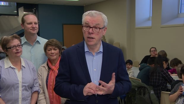 Manitoba NDP Leader Greg Selinger speaks to supporters in the West End of Winnipeg Saturday.