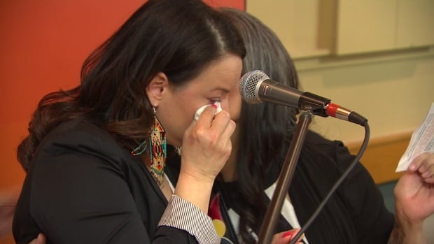 Nahanni Fontaine tears up after winning the Manitoba NDP nomination in the St. Johns constituency Saturday.