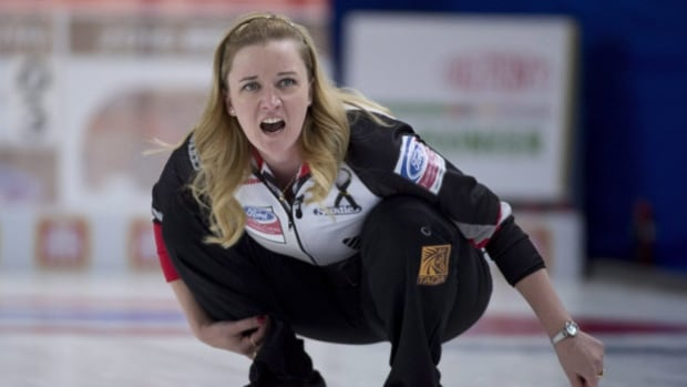 Team Canada's Chelsea Carey helped lead her team to a win during the first draw against Denmark at the Women's World Curling Championship curling in Swift Current, Sask., on Saturday.
