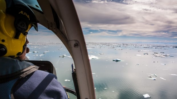 This photo taken from a Canadian Coast Guard helicopter shows the point of contention, between Yukon and Alaska, with the Beaufort visible in the distance.