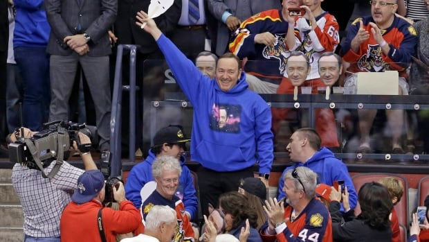 Kevin Spacey donned a 'Spacey in Space' sweatshirt and 'Spacey Facey' mask on Saturday night in support of the Florida Panthers during their game against the Detroit Red Wings.