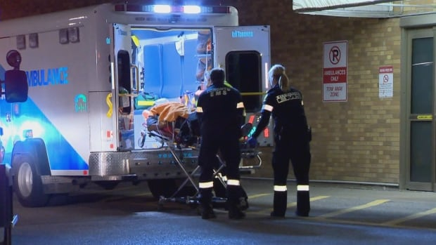 Paramedics say the victim suffered life-threatening injuries and was rushed to a nearby trauma centre.