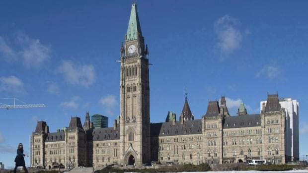 The centre block of the Parliament buildings in Ottawa.