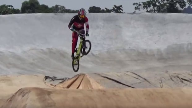 2015 Pan Am Games gold medallist, Tory Nyhaug, testing out the Rio 2016 BMX track in March, 2016.