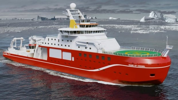 A rendering of the National Environment Research Council's new Arctic vessel. NERC is currently seeking public input for the name of the new ship, with 'RRS Boaty McBoatface' leading the pack.