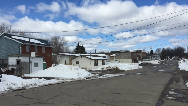 A woman was found naked and calling for help on this street near the rail tracks on the north side of Thunder Bay, Ont., around midnight on March 10. Thunder Bay police say there is no evidence to support a criminal charge.