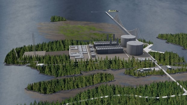 An artists rendering of the proposed Pacific NorthWest LNG plant near Prince Rupert, B.C., showing the new suspension bridge design, submitted after concerns about the impact on Flora Bank.