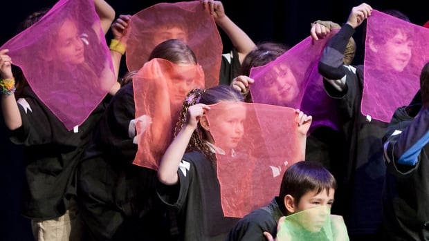 Students at École francophone d'Airdrie work with Trickster Theatre in a project partially funded by the Artists and Education grant. The grant stream had its budget cut in half last June, but some want the province to restore the funding in the April budget.