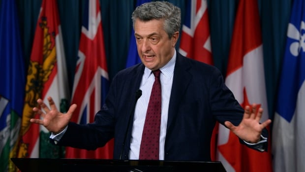 UN High Commissioner for Refugees (UNHCR) Filippo Grandi holds a press conference on Parliament Hill in Ottawa March 21, 2016.