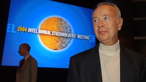 "In this May 19, 2004 file photo, Intel Corp. founder Andy Grove looks on after the Intel shareholders meeting in Santa Clara, Calif. Grove's escape from the Iron Curtain when a child inspired an ""only the paranoid survive"" management philosophy that saved the chip maker from financial ruin in the 1980s."