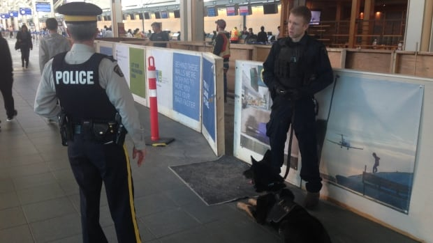 YVR is heightening security measures with additional police officers and dogs at YVR following three explosions in Brussels on March 22, 2016.