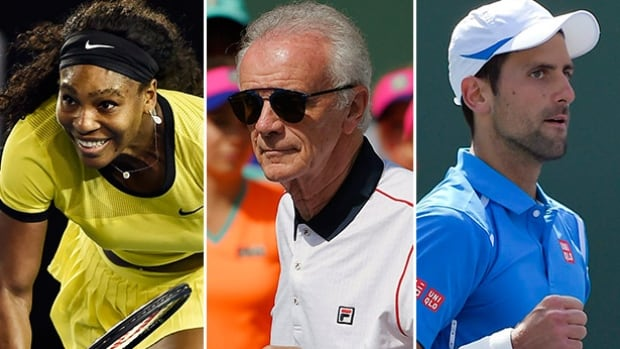 Comments from Raymond Moore, centre, the (now former) director of the Indian Wells tennis tournament, set off a firestorm of criticism, including comments from both Serena Williams, left, and Novak Djokovic, right.