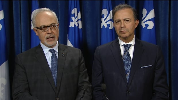 Quebec Finance Minister Carlos Leitao (left), and treasury board president Sam Hamad said they would have liked the federal budget to include more details about infrastructure spending.
