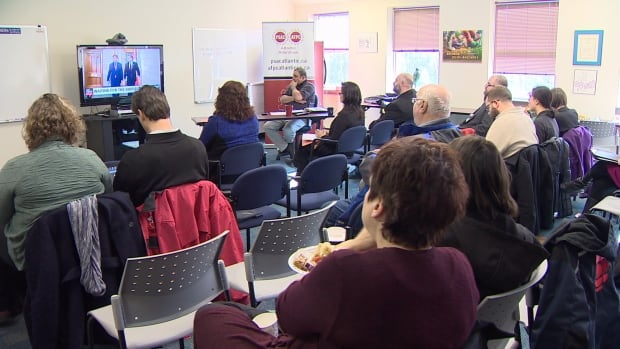 A number of local interest groups watched the federal budget live together.