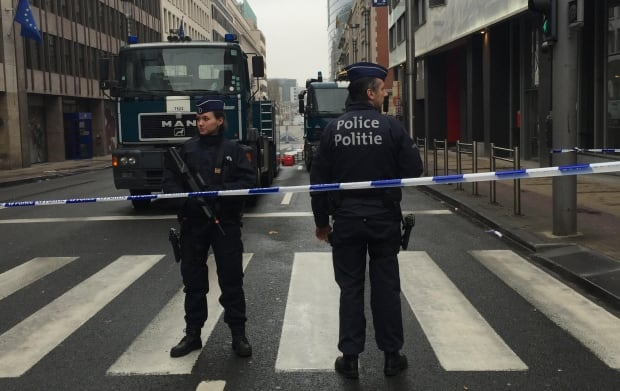 Police barricade in Brussels
