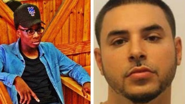 Calgary police have issued arrest warrants for 19-year-old Jack-Samuel Mesadieux of Brooklyn, N.Y. (left) and and 30-year-old Montreal resident Paul Seguin. No photo was available of a third wanted man, 32-year-old Jeff Carmell Charles of Calgary.