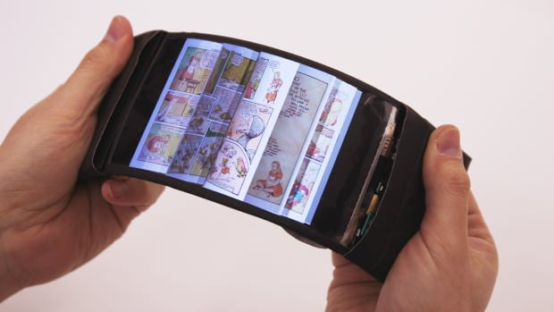 Bending the prototype smartphone creates a simulation of pages flipping.
