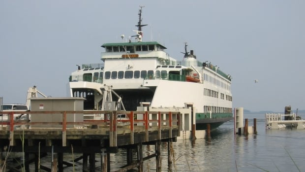 A ferry docked in Sidney, B.C. The mayor of Sidney is considering an independent ferry service for passengers linking Sidney to the Gulf Islands.