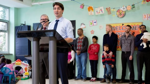 Prime Minister Justin Trudeau speaks during a visit to meet with some families to discuss Budget 2016 at the Trinity Community Recreation Centre in Toronto on March 24, 2016.