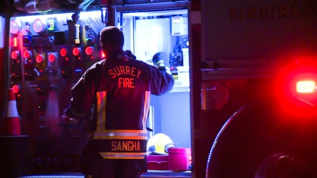 Crews from both White Rock and Surrey attended the fire, which broke out in a vacant restaurant in the 15700 block of Marine Drive.