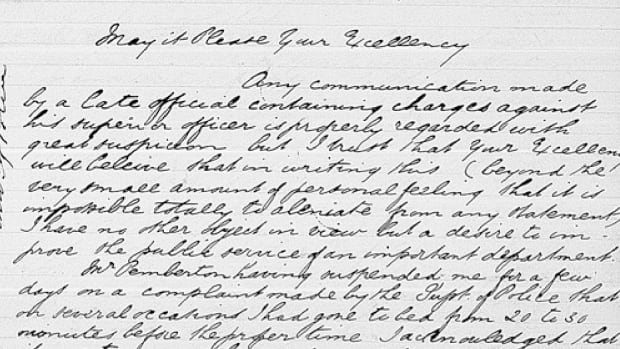 One of the pages relating to Victoria Police sergeant Harry Wilmer's correspondence with the former Vancouver Island government.