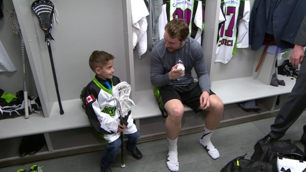 Cohyn Wells in the dressing room as part of his one-day contract for the Saskatchewan Rush.