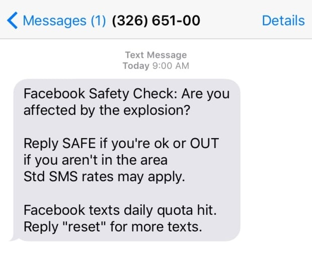 Facebook text message safety check