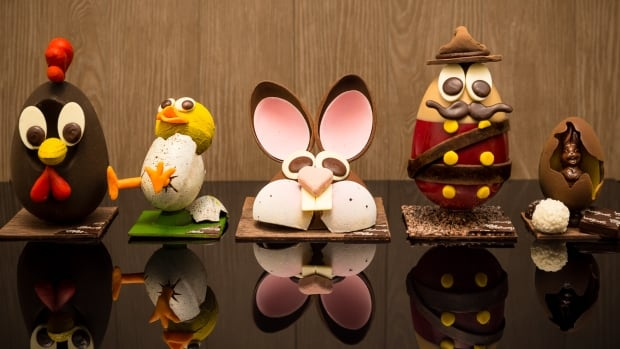 The treats featured in Chez Christophe Chocolaterie Patisserie's 2016 Easter chocolate egg collection.