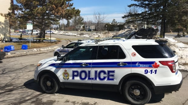 Ottawa police cordoned off a large parking lot off Sonnet Crescent in Bells Corners after a woman was shot and critically injured Easter Sunday morning.