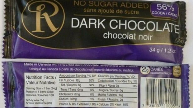 The Canadian Food Inspection Agency has recalled this brand of Ross Chocolates, shown above, because the bars may contain milk which is not declared on the label.
