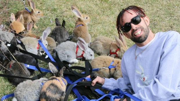 Calgary artist known as Eazy Mac said the weather was perfect Easter Sunday to get his 31 bunnies out for a walk.