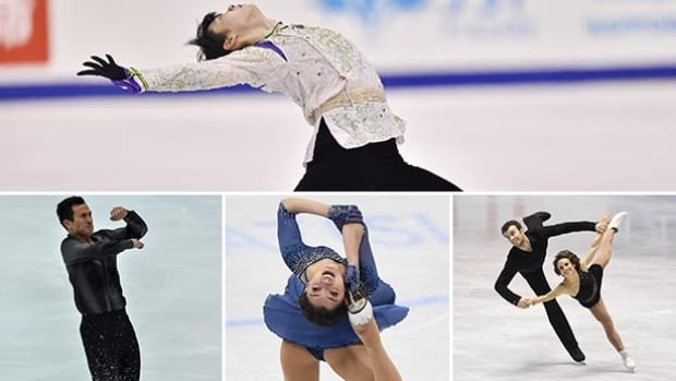 Clockwise: Japan's Yuzuru Hanyu, Canada's Eric Radford and Meagan Duhamel, Russian Evgenia Medvedeva, along with Canadian Patrick Chan are all shooting for world championship figure skating titles in Boston.