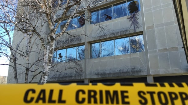 Police have made an arrest after a security guard reported smashed windows at 2 Civic Centre Court just after 4 a.m. Tuesday morning.