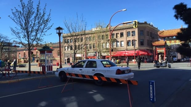 The intersection of Government Street and Fisgard Street in Victoria where a cylist died after she was hit by a delivery truck Tuesday morning.